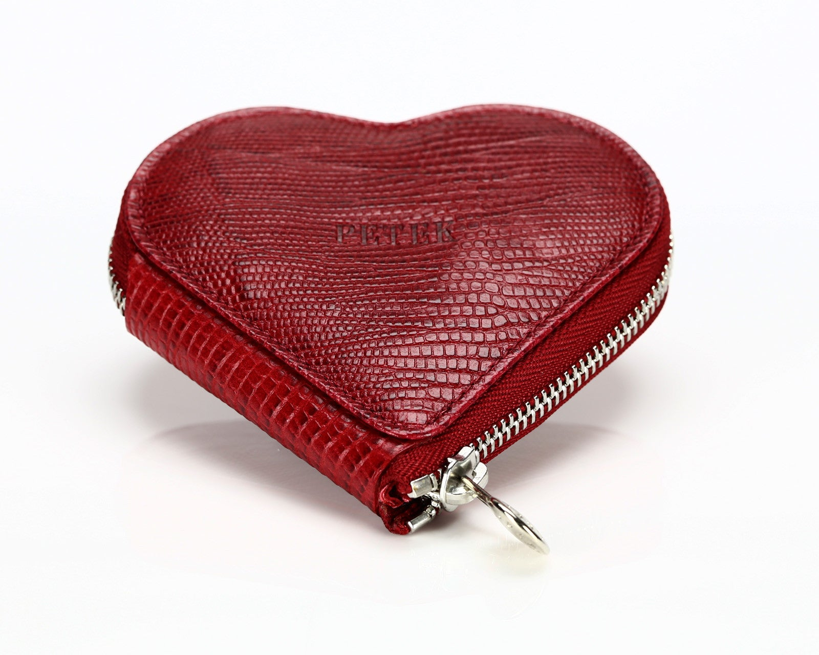 1303 Crocodile Red, Zip Around Heart Shaped Coin Purse