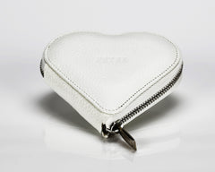 1303 White, Zip Around Heart Shaped Coin Purse