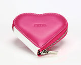 1303 Pink, Zip Around Heart Shaped Coin Purse