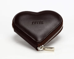 1303 Chocolate Brown, Zip Around Heart Shaped Coin Purse