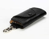 #514 Crocodile Black, Leather Key Pouch With Snap And Clip