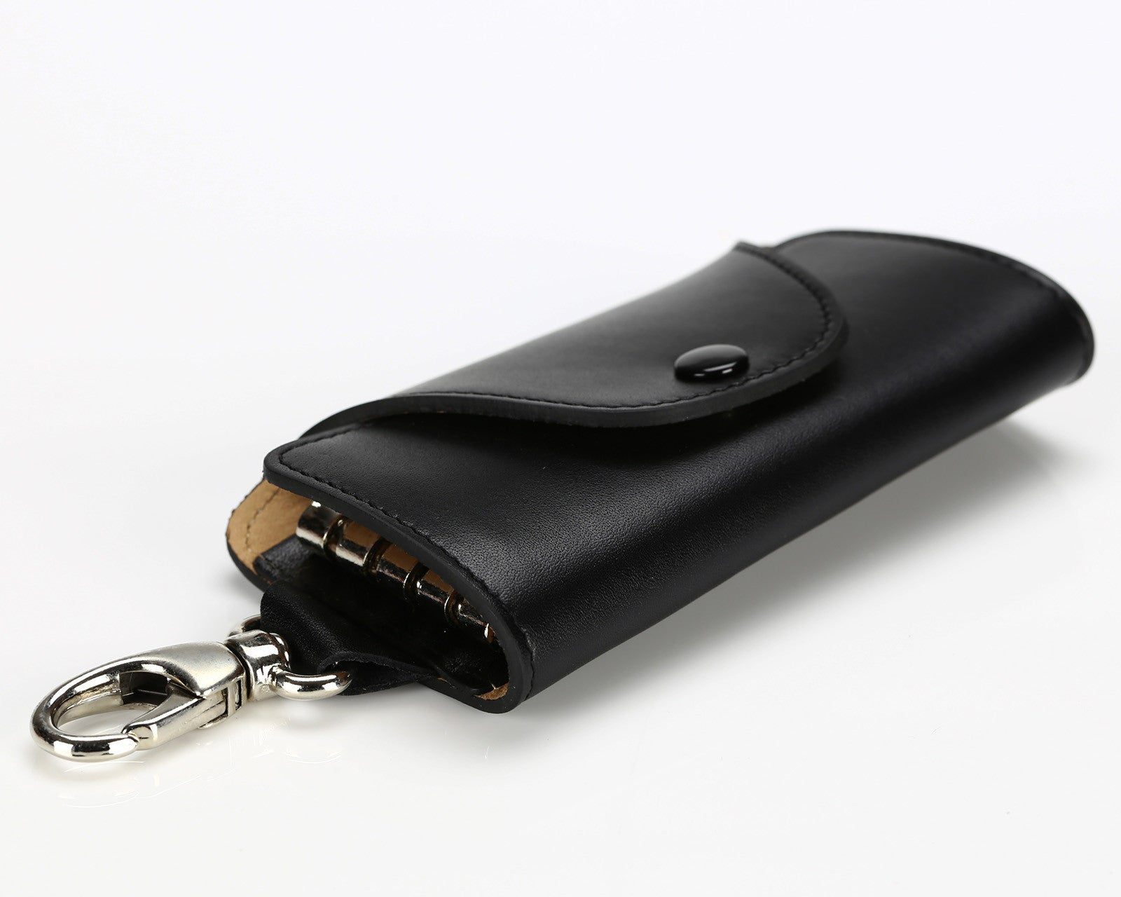 #514 Black, Leather Key Pouch With Snap And Clip