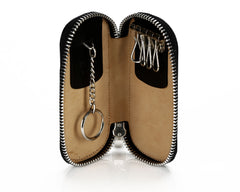 #2531 Black, Leather Key Ring With Full Around Zipper