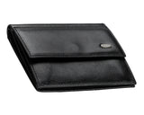200, Petek 1855, Solid Black, With Snap, Men's Leather Wallet