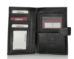 368 Crocodile Black, Travel & Business Wallet With Coin Purse