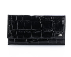 379 Large Crocodile Black, Petek 1855 Women's Leather Wallet