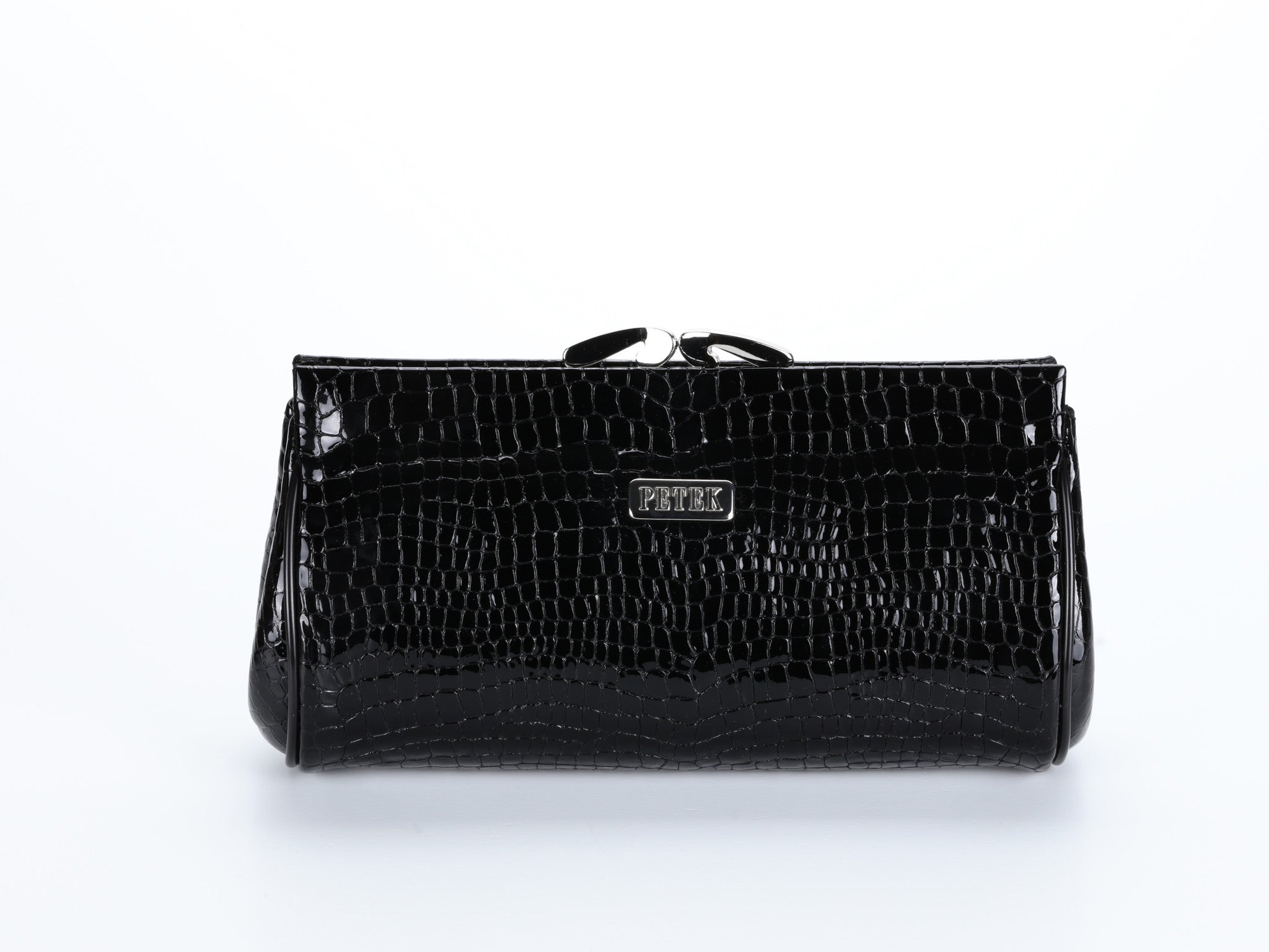 #409 Crocodile pattern Black Clutch