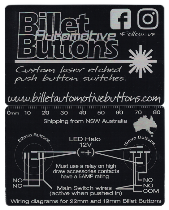Billet Button 19mm and 22mm wiring diagrams