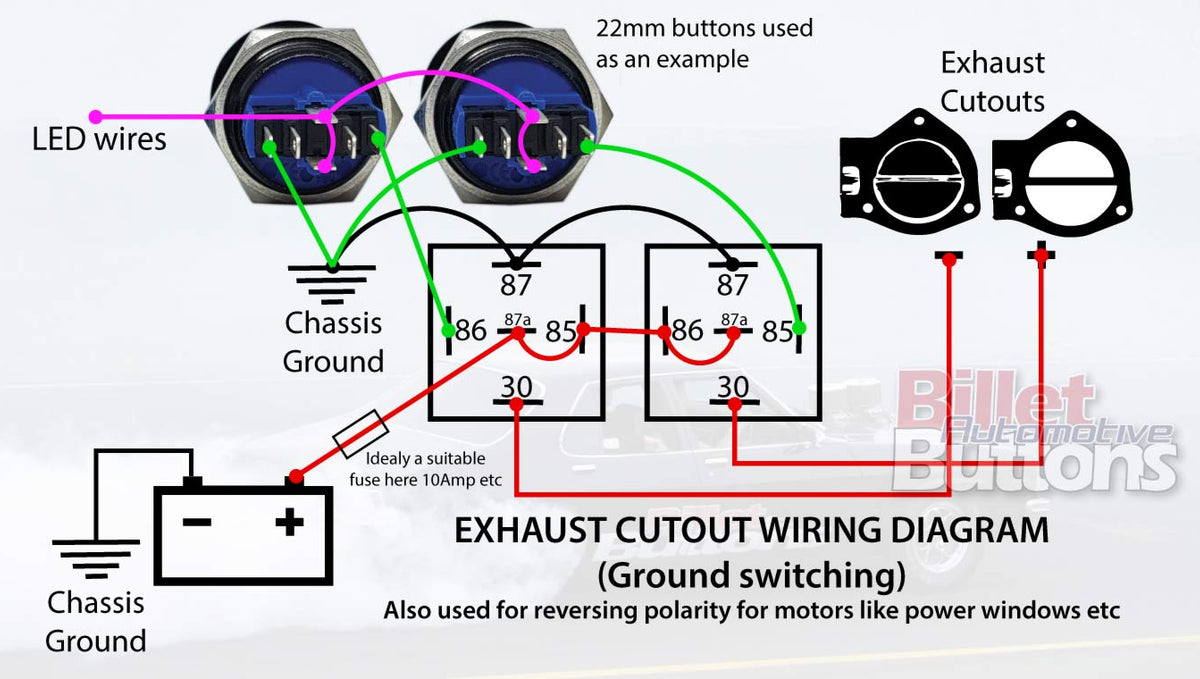Wiring diagram videos for billet buttons power windows exhaust cut-outs