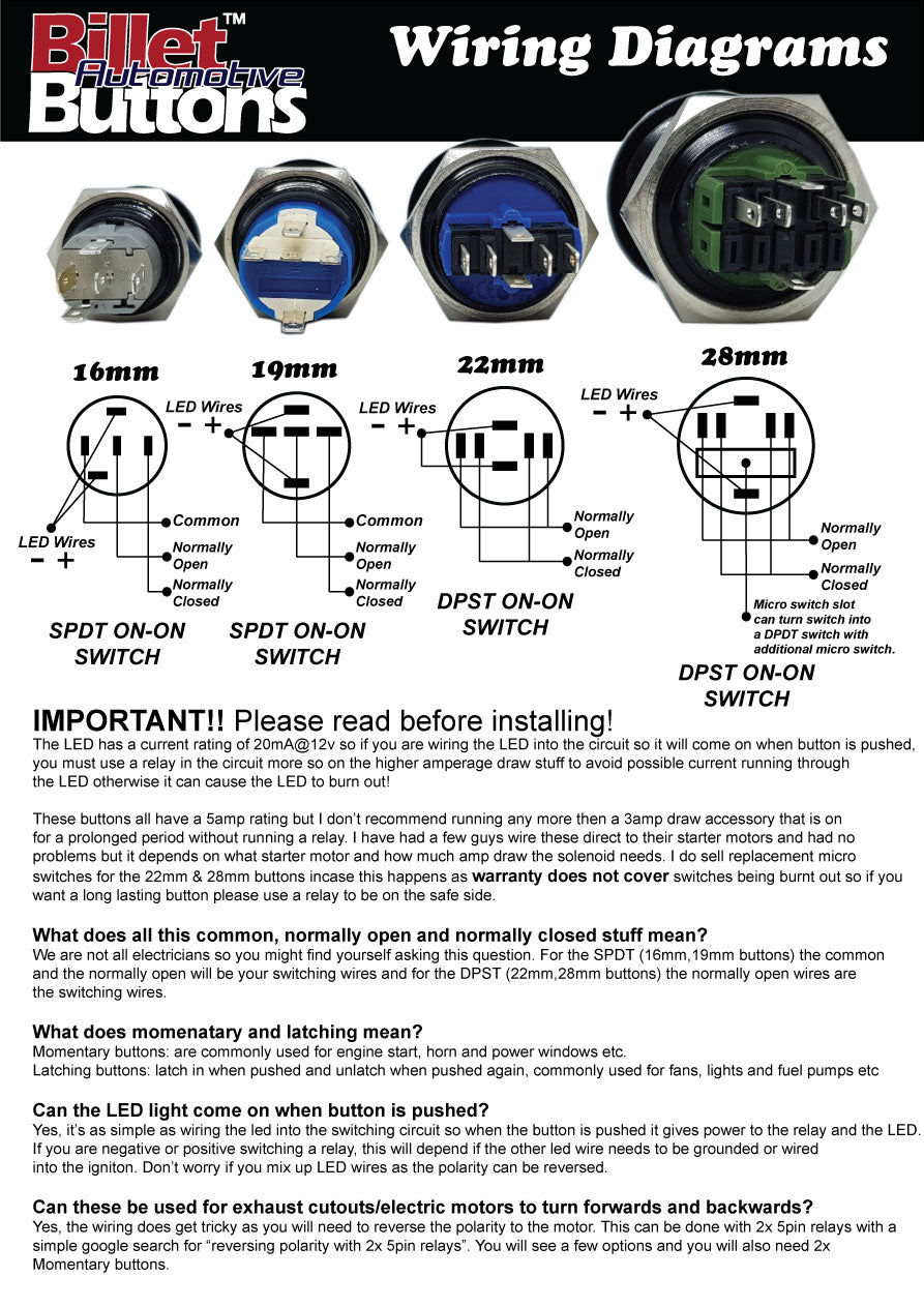 Billet Buttons wiring diagrams