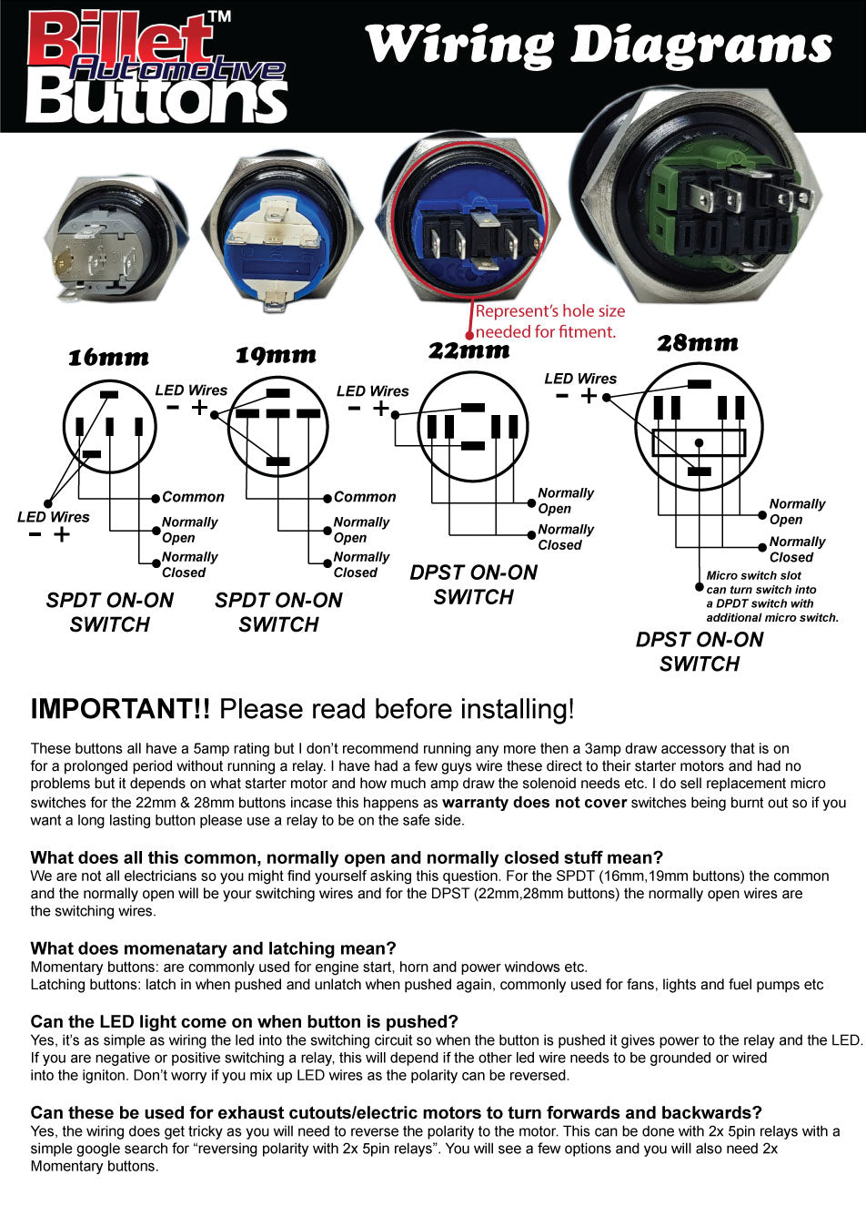 Billet button wiring diagrams