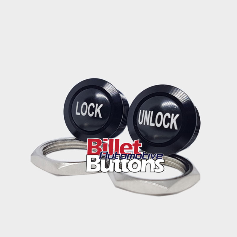 16mm Pair 'LOCK & UNLOCK' Push Button Switch Dome Top Small Compact