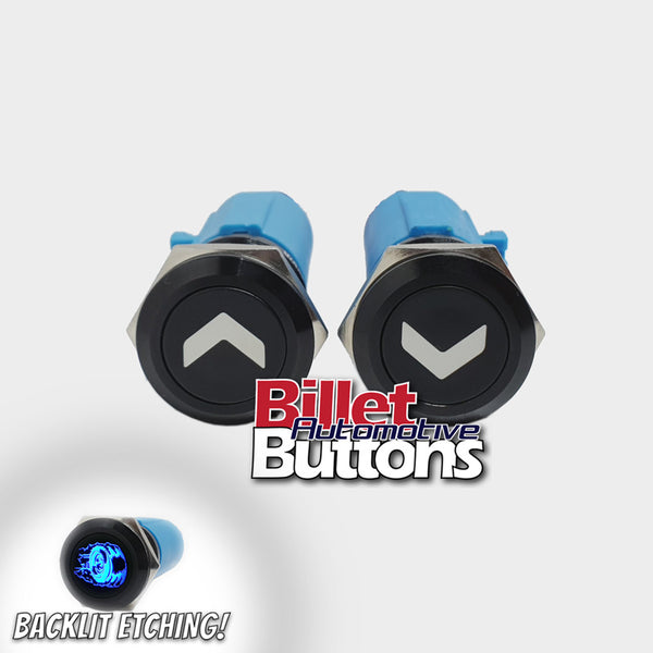 19mm Pair 'ARROW SYMBOLS 2' Billet Push Buttons Switches Power Windows Turn Signals etc