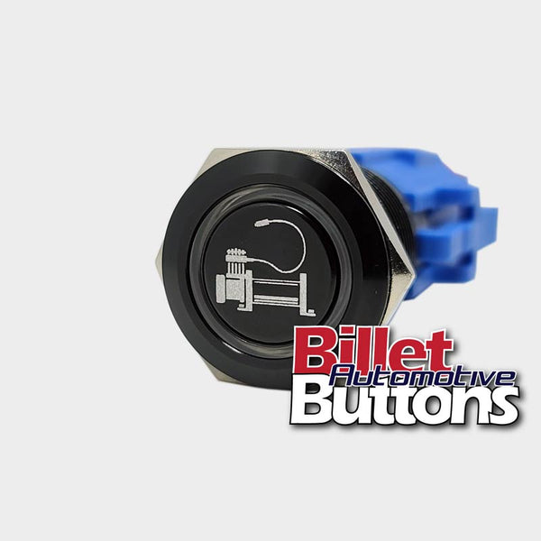 19mm 'AIR COMPRESSOR 12V SYMBOL' Billet Push Button Switch 4x4