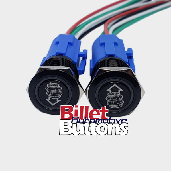 19mm Pair 'AIRBAG SUSPENSION SYMBOLS' Billet Push Buttons Switches Up Down air