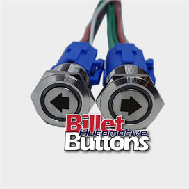 19mm Pair 'ARROWS SYMBOLS' Billet Push Buttons Switches Power Windows Turn Signals etc