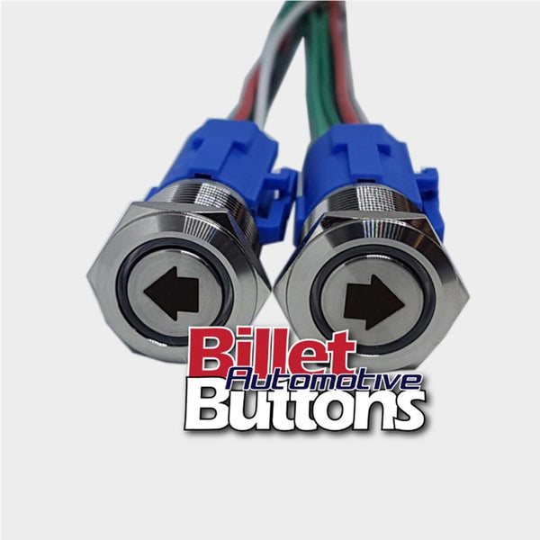 19mm Pair 'ARROW SYMBOLS' Billet Push Buttons Switches Power Windows Turn Signals etc
