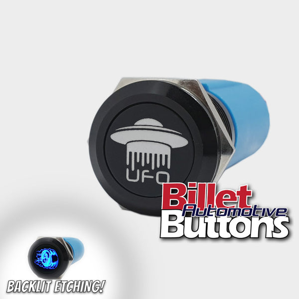 19mm 'UFO SYMBOL' Billet Push Button Switch