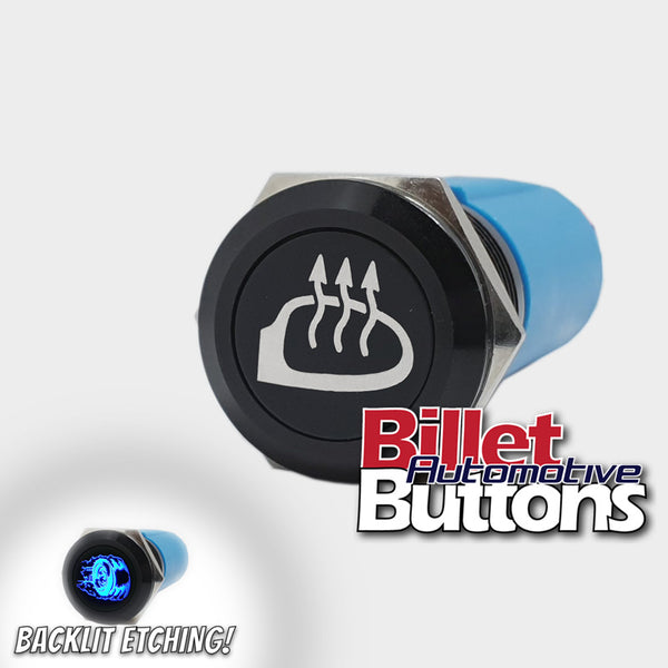 19mm 'HEATED MIRROR SYMBOL RHS' Billet Push Button Switch Mirrors Demister