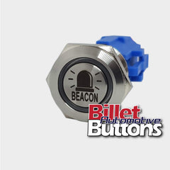 19mm 'BEACON SYMBOL' Billet Push Button Switch
