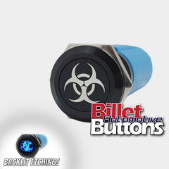 19mm 'BIO HAZARD SYMBOL' Billet Push Button Switch Biohazard