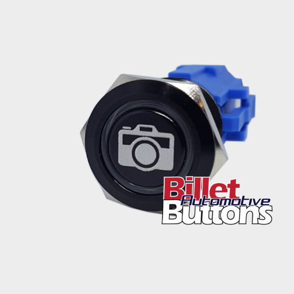 19mm 'CAMERA SYMBOL' Billet Push Button Switch Reverse Camera Dash Cam etc