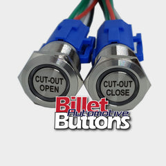 19mm Pair 'CUT-OUT OPEN/CLOSE' Billet Push Buttons Switches Electric Exhaust Cutouts