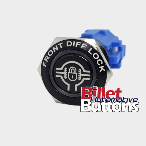 19mm FEATURED 'FRONT DIFF LOCK SYMBOL' Billet Push Button Switch