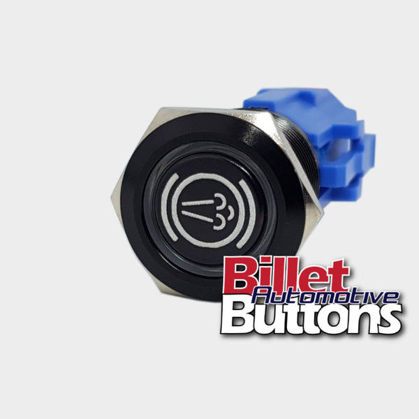 19mm 'EXHAUST BRAKE SYMBOL' Billet Push Button Switch