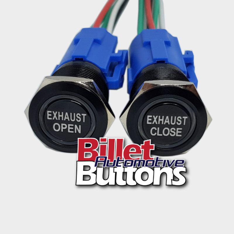 19mm Pair 'EXHAUST OPEN/CLOSE' Billet Push Buttons Switches Electric Cutouts