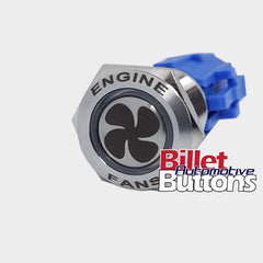 19mm FEATURED 'FAN SYMBOL' Billet Push Button Switch Thermo Engine Fans