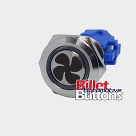 19mm 'FAN SYMBOL' Billet Push Button Switch Thermo Trans Oil Cooler Fan Etc