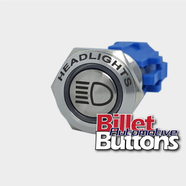 19mm FEATURED 'HEADLIGHTS SYMBOL' Billet Push Button Switch High Beam