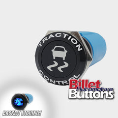 19mm FEATURED 'TRACTION CONTROL SYMBOL' Billet Push Button Switch Skid Burnout