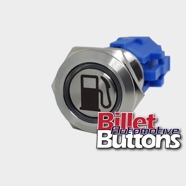 19mm 'FUEL BOWSER SYMBOL' Billet Push Button Switch Fuel Pump