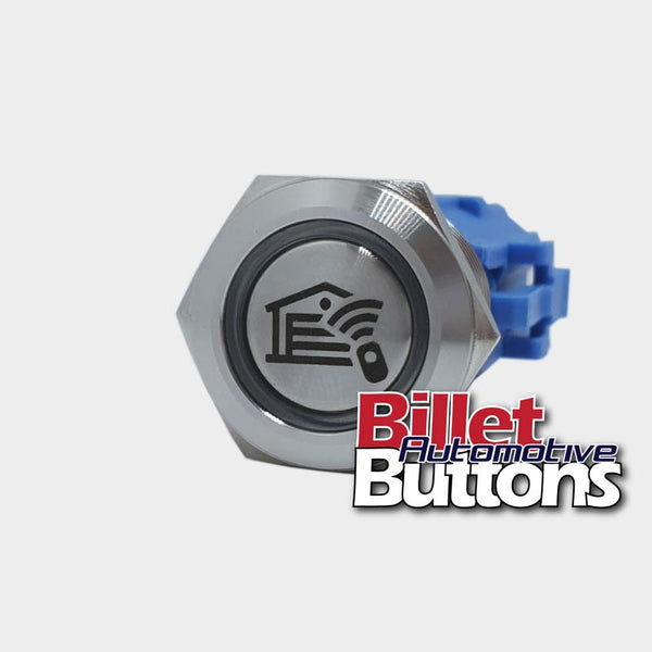 19mm 'GARAGE DOOR REMOTE SYMBOL' Billet Push Button Switch 12v