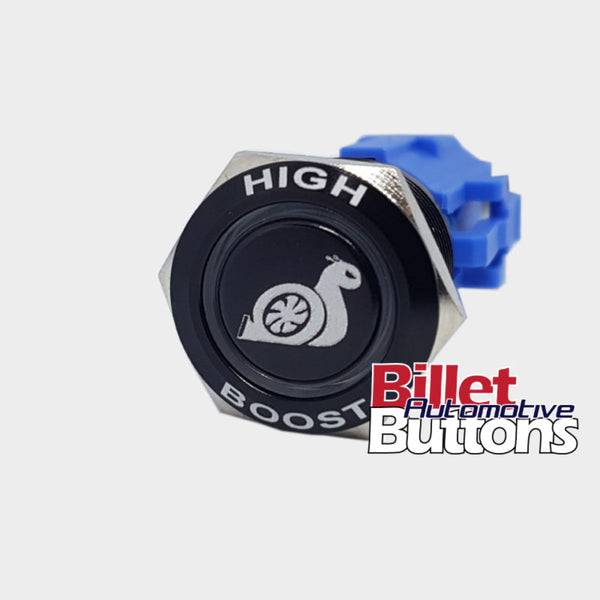 19mm FEATURED 'HIGH BOOST SNAIL SYMBOL' Billet Push Button Switch Boost Controller Turbo etc