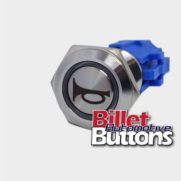 19mm 'HORN SYMBOL' Billet Push Button Switch