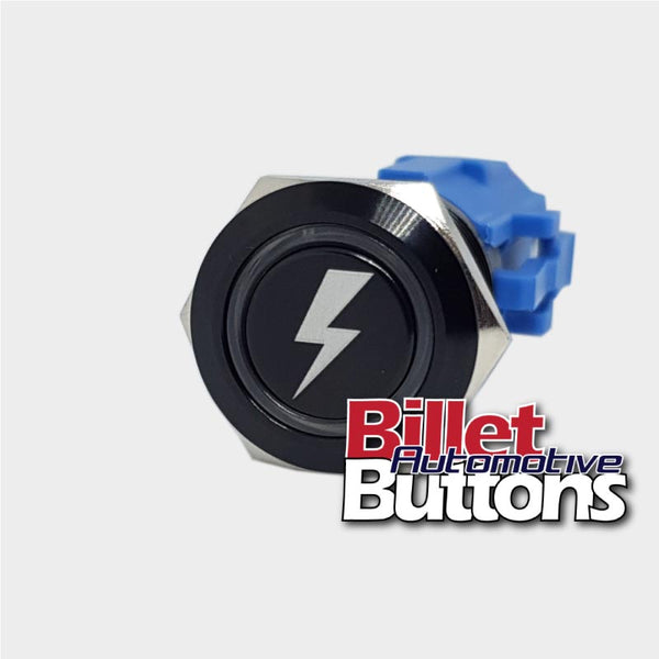 19mm 'LIGHTNING SYMBOL' Billet Push Button Switch Bolt Power