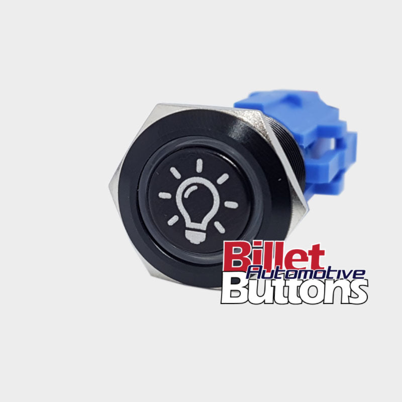 19mm 'LIGHT BULB SYMBOL' Billet Push Button Switch Dome Interior Light etc