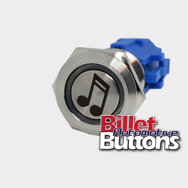 19mm 'MUSIC NOTE SYMBOL' Billet Push Button Switch Stereo Sound Speakers etc