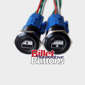 19mm Pair 'POWER WINDOWS SYMBOLS' Billet Push Buttons Switches