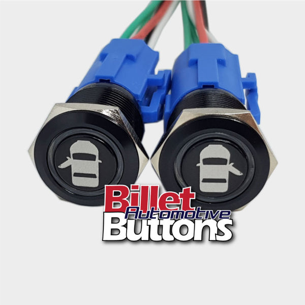 19mm Pair 'DOOR OPEN SYMBOLS' Billet Push Button Switches Opener Poppers