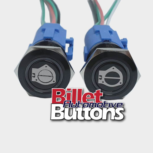 19mm Pair 'CUT-OUT OPEN/CLOSE SYMBOLS' Billet Push Buttons Switches Electric Exhaust Cutouts