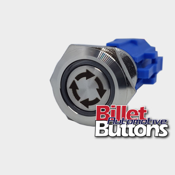 19mm 'ROTATION ARROWS SYMBOL' Billet Push Button Rotate