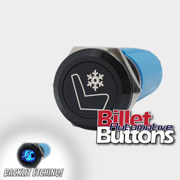 19mm 'SEAT COOLER SYMBOL' Billet Push Button Switch Cool