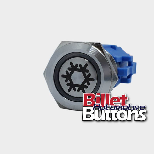 19mm 'SNOWFLAKE SYMBOL' Billet Push Button Switch Aircon AC Air Conditioning