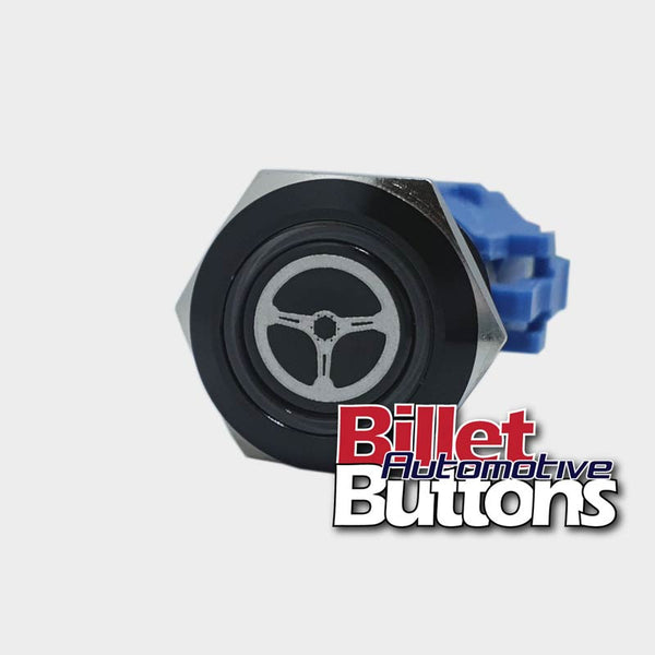 19mm 'STEERING WHEEL SYMBOL' Billet Push Button Switch Power Steer Astra Pump