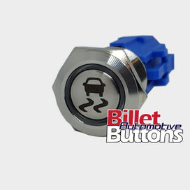 19mm 'TRACTION CONTROL SYMBOL' Billet Push Button Switch Skid Burnout