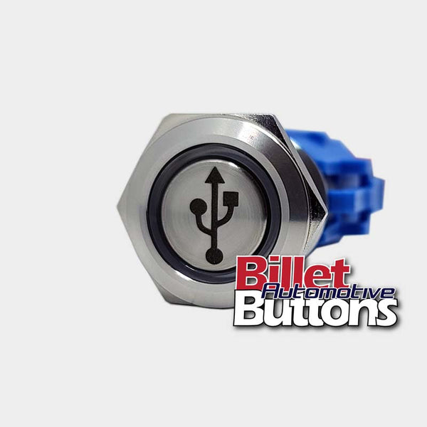19mm 'USB SYMBOL' Billet Push Button Switch Outlet 4x4